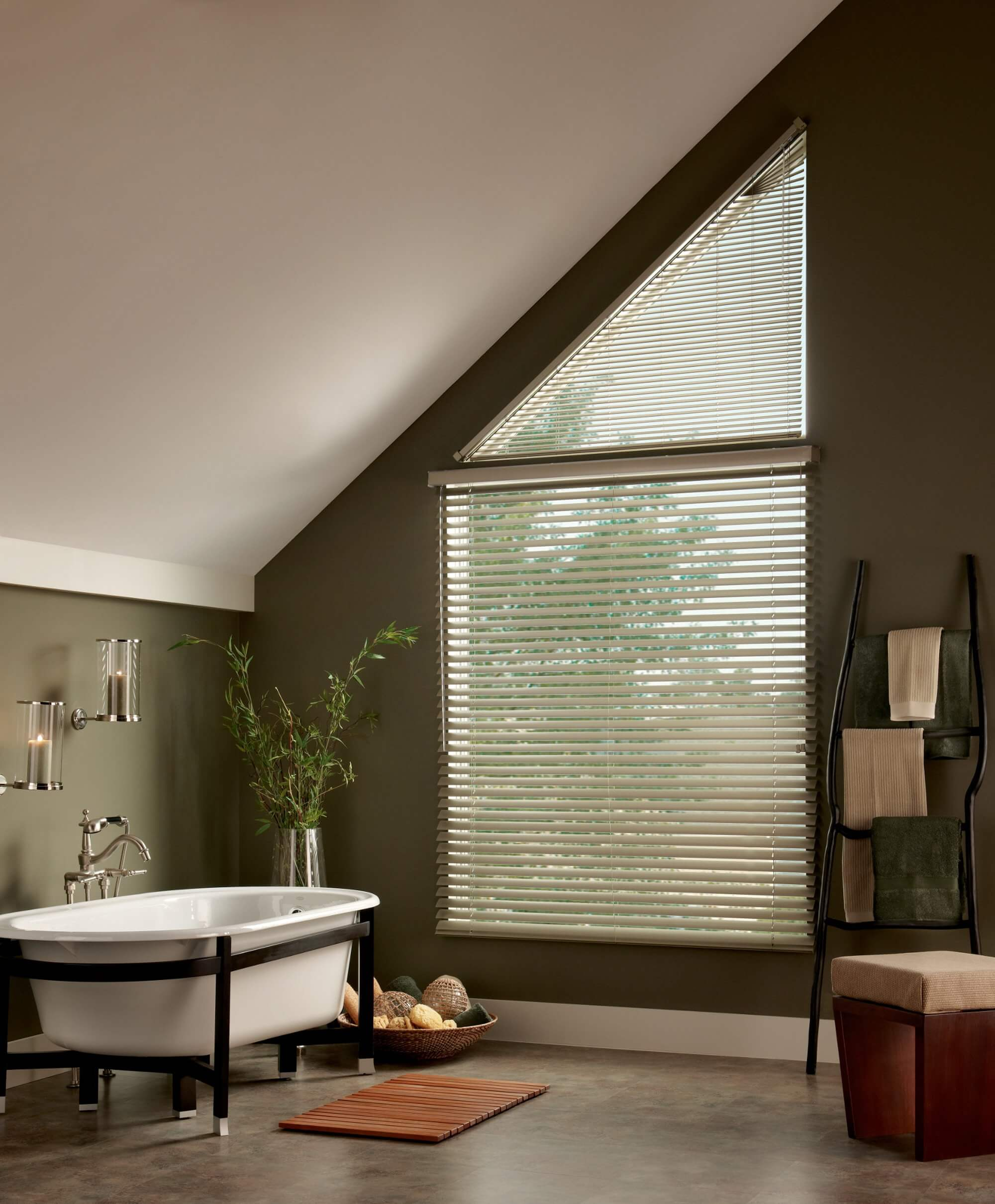 Window treatments for angled windows are perfect for adding privacy and light control.